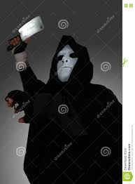 halloween night background ghost killer man in mask and hood hold chopping knife costume for