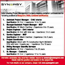 Interior Project Manager Jobs Jobs In Synergy Property Development Services Pvt Ltd Vacancies