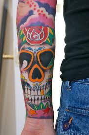 colored sugar skull sleeve