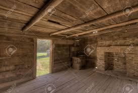 interior of an old log cabin stock photo picture and royalty free