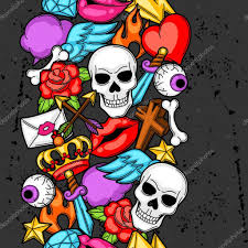 seamless pattern with retro tattoo symbols cartoon old