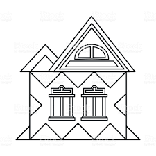 house with attic icon outline style stock vector art 688462026