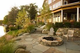 goshen stone patio with firepit backyard fire pits pinterest