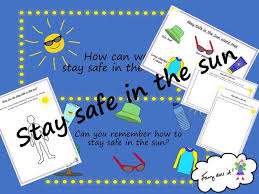 stay safe in the sun powerpoint worksheets and word mat by