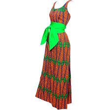 design thai vintage dress in blue green and orange cotton tropical