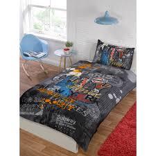 city graffiti printed duvet cover and pillowcase set