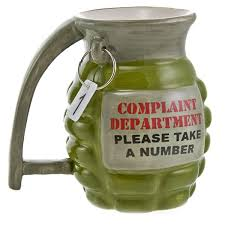 Novelty Coffee Mugs by Grenade Complaint Dept Funny Coffee Mug Novelty Military Mugs