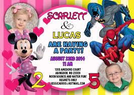 custom photo invitations minnie mouse batman u0026 spiderman