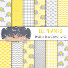sale yellow elephant digital paper gray elephant digital paper