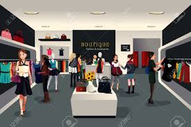 trendy boutique clothing a vector illustration of view inside a trendy clothing store