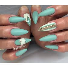 sea green stiletto nails spring summer 2016 nail art