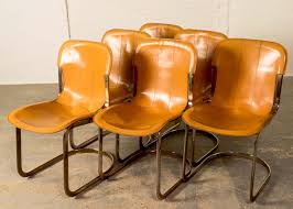 Mid Century Leather Chairs Mid Century Leather Brass Dining Chairs By Willy Rizzo For Cidue