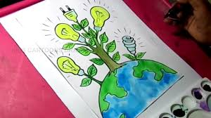 how to draw save energy save power poster drawing for kids youtube