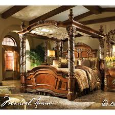king poster bedroom set michael amini 5pc villa valencia king size canopy poster bedroom set