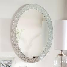 oval frame less bathroom vanity wall mirror with elegant crystal