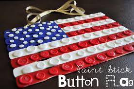 American Flag Upside Down Paint Stick Button Flag Craft I Heart Crafty Things