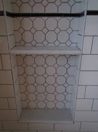 my bathroom reno shower niche alcove with hexagon tile u0026 marble