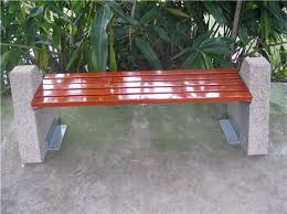 Concrete Patio Bench Concrete Base Metal Frame Solid Wood Outdoor Bench Seat Buy