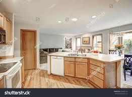 traditional kitchen room design neutrals colors stock photo