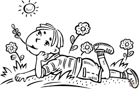 boy daydreaming in a field coloring page free printable coloring