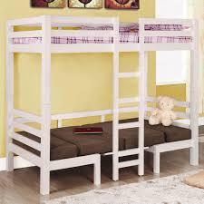 Loft Bed Set White Wooden Bunk Bed With Ladder On The Middle Combined With