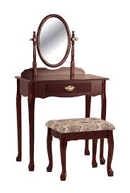 Vanity Makeup Desk With Mirror Amazon Com Crown Mark Vanity Cherry Kitchen U0026 Dining