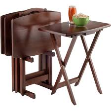 Folding Dining Table And Chairs by 5 Piece Oblong Tv Tray Set Walmart Com