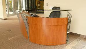 Metal Reception Desk Metal Glass U0026 Cherry Laminate Reception Furniture Custom