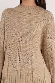 knitted sweater moon river easy days taupe knitted sweater 32 tobi us