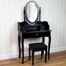 black makeup desk with drawers nishano dressing table 3 drawer stool mirror bedroom furniture