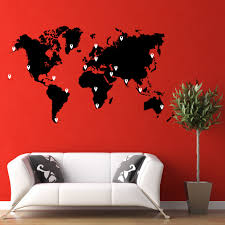 world map vinyl wall decal with pins world map pin drops decal