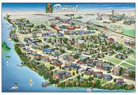 Map Of Montreal Pictorial Map Of Dorval Dorval Canada U2022 Mappery