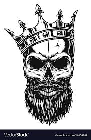 black and white skull in crown royalty free vector image