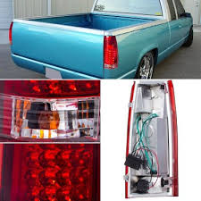 euro tail lights for chevy silverado gmc sierra 1988 1998 led tail lights red and clear a101my0y109