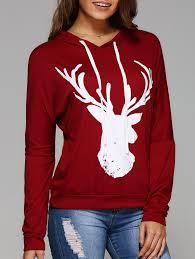 christmas shirts tees t shirts xl deer print sleeve christmas hooded t