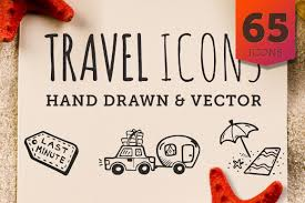 travel icons images Travel icons clipart 65 cute hand drawn illustrations vector jpg