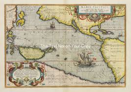 South Pacific Map Ortelius Pacific Old Color North South America Maris Pacifici Map
