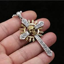 cross skull necklace images 2018 wholesale 2017 cross skull pendant 100 925 sterling silver jpg