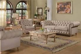 Classic Tufted Sofa Shantoria Beige Linen 2p Sofa Set Traditional Classic Tufted Sofa