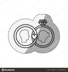 sticker silhouette profile face engagement and diamond rings