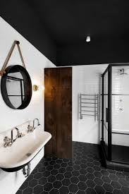 Subway Tile Bathroom Floor Ideas by Black White Tile Bathroom Floor White Washbasin Match For Small