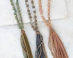 beaded tassel necklace images Bead tassel necklace etsy jpg