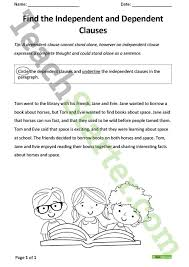 all worksheets dependent and independent clauses worksheets