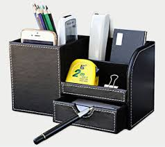 Desk Organizer Leather Black Leather Office Home Desktop Organizer Desk Pen Pencil Holder