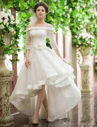 Low Cost Wedding Dresses Discount Vintage High Low Wedding Dresses Off Shoulder 3 4 Sleeves