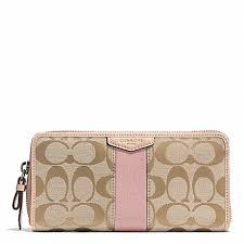 light pink coach wallet coach f49892 signature stripe accordion zip wallet silver light