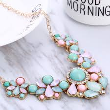 necklace gold pink images Hesiod blue pink rhinestone necklaces pendant boho statement jpg