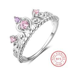 rings pink stones images Fashion 925 sterling silver crown rings for women pink purple jpg