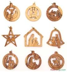 olive wood ornaments mix set of 12 flat ornaments