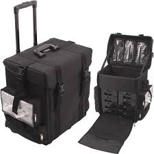 professional makeup artist bag cosmetic black soft sided professional 4 wheels rolling